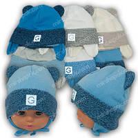 Вязаная шапка на завязках, для мальчиков, Ku341