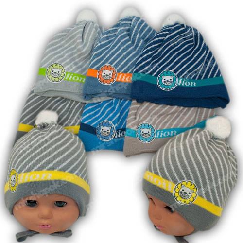 Вязаная шапка на завязках, для мальчиков, Ku345