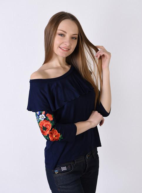 Трикотажная футболка с волановым воротником, спадающий с плеча