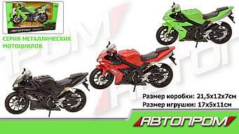 """Мотоцикл метал-пластик.инерц 7747  """"Автопром"""" в коробке 21, 5*12*7см"""