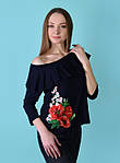 Обаятельная футболка с вышитым цветком и воланами, фото 2
