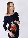 Обаятельная футболка с вышитым цветком и воланами, фото 5