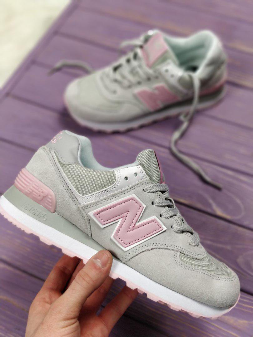 652d11ffd6f837 Женские кроссовки New Balance 574 grey/pink. Топ качество. Живое фото  (Реплика ААА+)