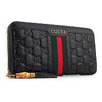Кошелек кожаный женский на молнии черный Gucci 8015, фото 1