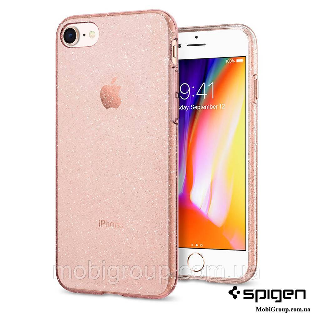 Чехол Spigen для iPhone 8 / 7 Liquid Crystal Glitter, Rose Quartz