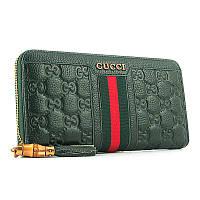 Кошелек кожаный женский на молнии зеленый Gucci 8015