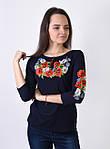Трикотажная футболка вышиванка для женщин с маками, фото 2
