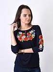Трикотажная футболка вышиванка для женщин с маками, фото 3