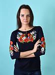 Трикотажная футболка вышиванка для женщин с маками, фото 4