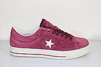 Кроссовки подростковые Конверс бордовые, фото 1
