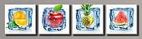 """Модульная картина на холсте из 4-х частей """"Ледяные фрукты"""""""