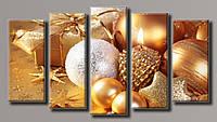 """Модульная картина на холсте из 5-ти частей """"Новогодние украшения"""""""