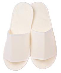 Тапочки одноразовые флизелиновые открытые, плотная союзка и антискользящей подошвой (цвет белый)