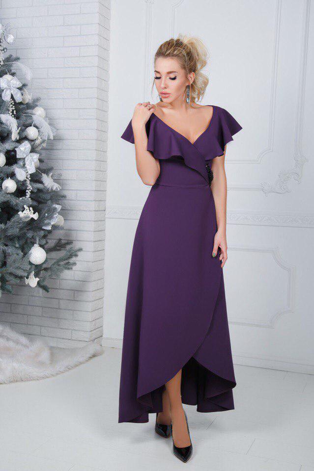 """Асимметричное нарядное платье на запах """"Rashelle"""" с оголенными плечами (3 цвета)"""