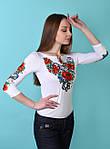 Красивая праздничная вышитая футболка с маками и васильками, фото 3