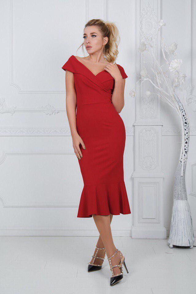 """Нарядное облегающее платье-миди """"Maridel"""" с оборкой и оголенными плечами (3 цвета)"""