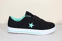 Кроссовки подростковые Конверс с зеленой вставкой, фото 1
