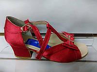 Обувь для девочек блок-каблук Success (красный сатин) (р.18;22)