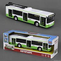 Детская игрушечная машинка Троллейбус 9690 А звук мотора, музыка, свет фар, двери открываются, инерция, на батарейке