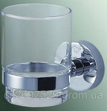 Стакан стекло с держателем 6,5*10*9,5см., латунь и нерж.сталь, фото 2