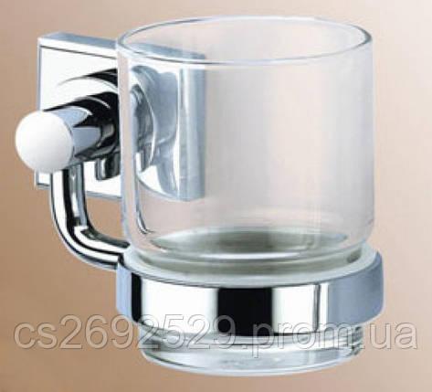 Стакан стекло с держателем  13,5*8*9,5см., латунь и нерж.сталь, фото 2