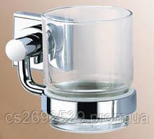 Стакан стекло с держателем  13,5*8*9,5см., латунь и нерж.сталь
