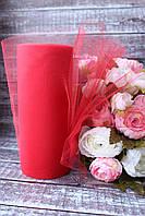 Фатин (вуаль) мягкий 15 см, 25 ярд/рулон, красного цвета, фото 1