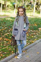 """Детское кашемировое пальто для девочки """"Ласка"""" с мехом на карманах (4 цвета), фото 3"""