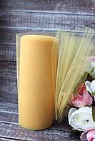 Фатин (вуаль) мягкий 15 см, 25 ярд/рулон, желтого цвета, фото 1
