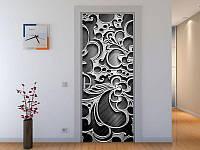 Наклейка на дверь Черно-белый узор