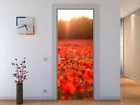 Наклейка на дверь Красные маки