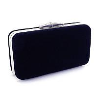 Синяя маленькая сумочка вечерняя клатч-бокс велюровая на цепочке