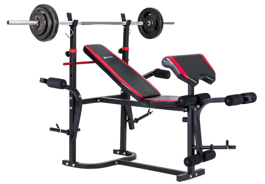 Силовой набор для жима скамья со штангой 85 кг и гантелями Strong для дома и спортзала, Львов