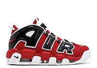 Женские кроссовки для спорта и туризма Nike Air More Uptempo - Red\Black, материал - кожа, подошва - пенка