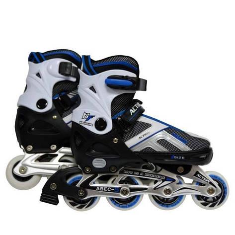 Спортивные роликовые коньки раздвижные, синие Action ARLO, Киев 37-40, фото 2