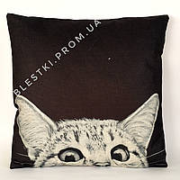 Стильная подушка для дивана с принтом кошка 45х45см