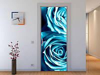 Наклейка на дверь Голубые розы