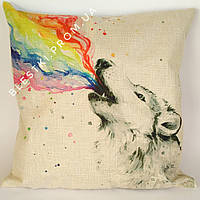 Стильная подушка для дивана с принтом волк 45х45см