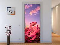 Наклейка на дверь Розовые цветы