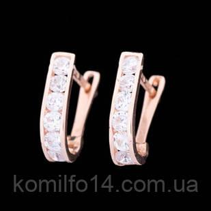 Золотые детские сережки с фианитами