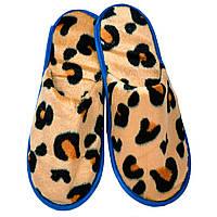 Тапочки для дома и офиса велюровые закрытые с антискользящей подошвой (цвет леопардовые крупные)