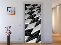 Наклейка на дверь Черно-белая 3-д