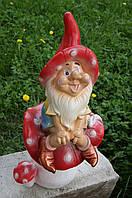 Статуэтка садовая Гном на грибе Бол.