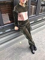 Велюровый костюм хаки с беж