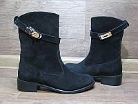 Ботинки женские высокие осенние/зимние кожа замша черные Uk0039