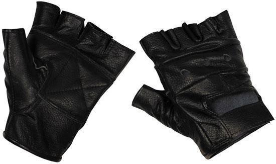 [Спец.ЦЕНА] Перчатки без пальцев кожаные чёрные (L) MFH 15514, фото 2