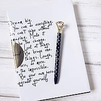 Ручка з діамантом - Black W/White Dots&Gold