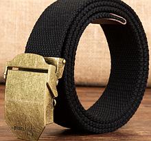Текстильный пояс с металлической пряжкой «Jinwei» 110-120 см черный