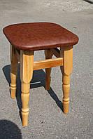 Табуретка на кухню из дерева (вверх кожзам или ткань), фото 1