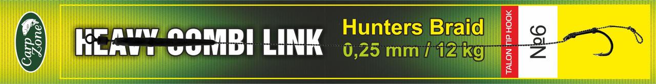 Готовий повідець Hunters Braid Talon Tip Hook Link 0,25 мм / 12 kg №6